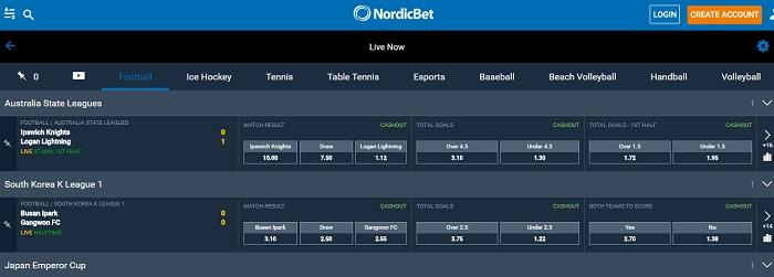 Nordicbet live bets