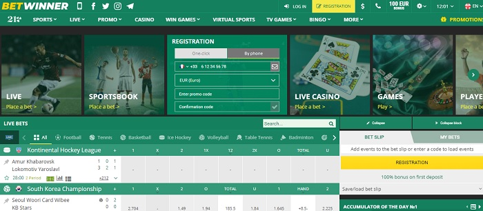 Betwinner home page